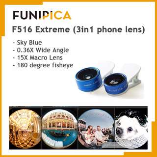 FUNIPICA 3in1 Universal Clip Mobile Phone Lens Lanthanide Optics Glass (Sky Blue)
