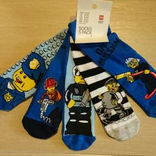 Brand New H&M Lego City Boys Kids Socks 5 Pack EU 25-27 US 8-9.5