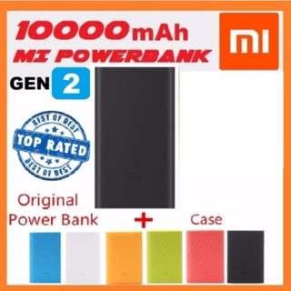 Xiaomi Mi 10000mAh Gen2 Ultra Slim Design PowerBank Fast Charging Power Bank for Apple iPhone Samsung Huawei Oppo Vivo Samsung Phones Mi Band 2 - BLACK + FREE SILICONE CASE
