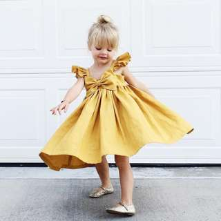 🌟INSTOCK🌟 Yellow Bow Ribbon Flare Party Dress for Baby Toddler Girl Children Kids Everyday Wear