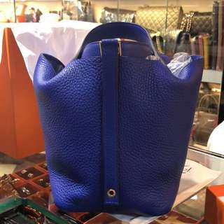 正品 全新 Hermes Picotin 18 電光藍金扣手挽袋