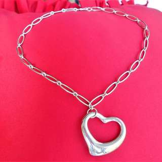 TIFFANY & CO ELSA PERETTI Extra-large Open Heart Silver Necklace - ALMOST NEW