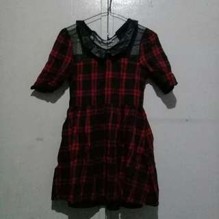 Black and Red Plaid Dress