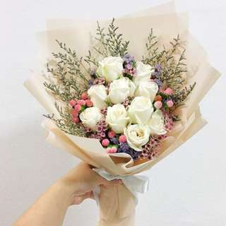 Proposal Bouquet in White Roses with Pink Fillers / Anniversary Bouquet