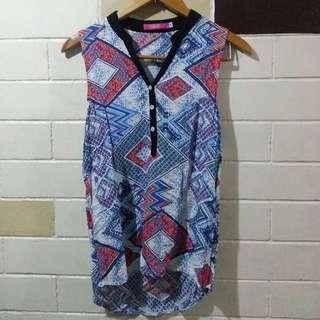 Aztec long back blouse