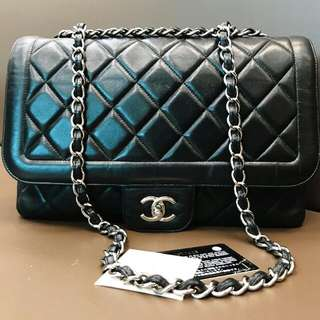 Chanel Jumbo Black Lambskin Madamoiselle SHW #14 ( bag holo card booklet db box ) -515