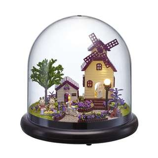 GIFTIDEA DIY Acrylic Cover Mini Wooden Dollhouse Miniature Kit with LED Idea Gift Travel world Series--Provence