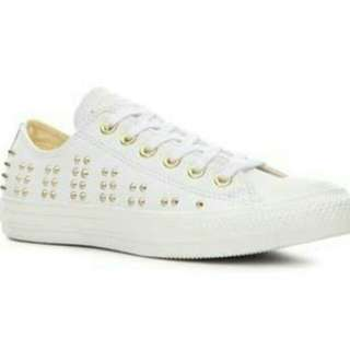 Converse white leather gold studs