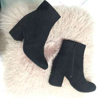 Betts black suede heel boots