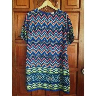 Nita Blue Aztec Print Dress