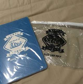 Ngee Ann poly pencil case(clear ) and notebook