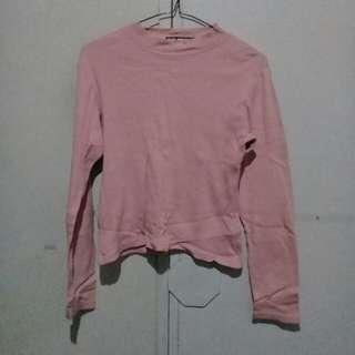 Pastel Pink Longsleeves Turtle Neck