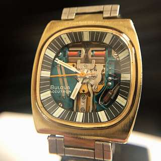 🇺🇸 1970 Vintage gold plate Bulova Accutron SPACEVIEW 214 Tuning Fork - 世上第一款tuning fork音义振頻表 35.8x41 mm 連原皮帶