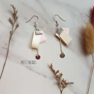 925 silver earrings with satin ribbons