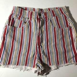 Vintage Striped High Waist Shorts