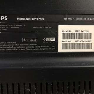 Philips 37寸全高清LCD TV 37PFL7422 (沙田第一城馬鐵站附近交收)