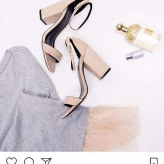 Nude Suede Ankle Strap Block Heels