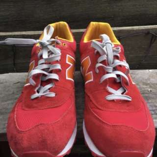 new balance 574 red/yellow suede men's size 11US