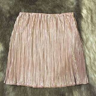 Neon Hart Pink Metallic Skirt - Size Small