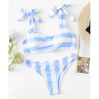 Striped Ruched Detail Bikini Set