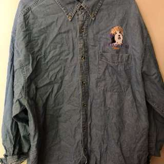 vintage men's dog denim long sleeve shirt XXL