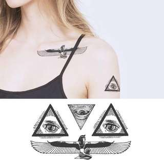 BN Instock Temporary Tattoo Temp Tattoos Third Eye Triangle Egypt Illuminati
