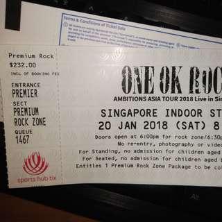 One Ok Rock Premium Rock ticket let go