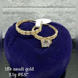 18K SAUDI GOLD RING WITH RUSSIAN DIAMONDS