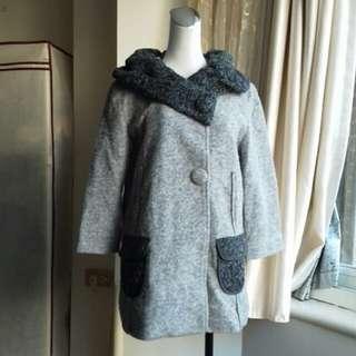 日單精品 黑灰配色 七分袖羊毛外套