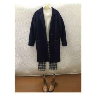 韓國 H:CONNECT 簡單俐落 氣質深藍 羊毛大衣 實穿性100%