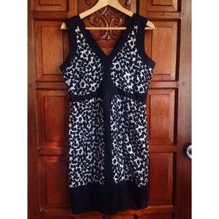 Plains & Prints Polka Dot Black White Dress
