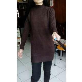 咖啡色長版毛衣 可當連身裙