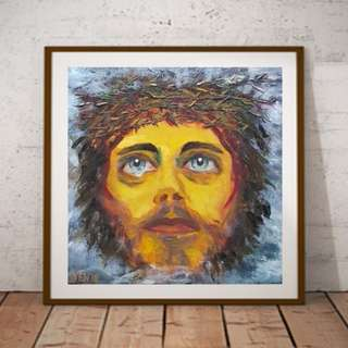 100% Charity Sales -  Jesus Abstract oil painting