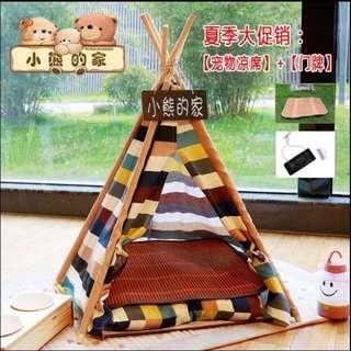 蒙古包帳篷 可拆洗狗窩貓窩 中小型犬室內寵物屋 (送小枕頭和門牌)