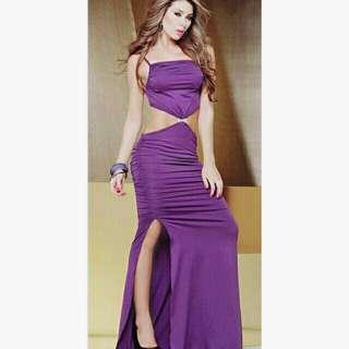 🚚 紫色露腰晚禮服