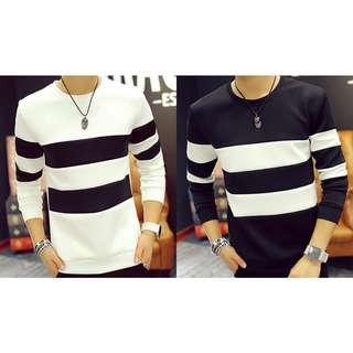 🆕T-shirt Stripes Long Sleeves Korean Fashion White/Black🆕