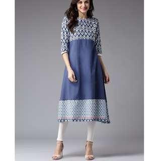 *買買印度*一月連線#036  顯瘦款 藍色花紋拼接色塊A-line薄棉洋裝庫塔 *預購