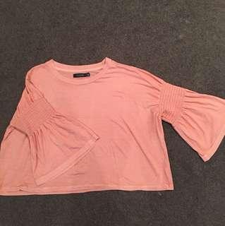 Pink crop top flare sleeves