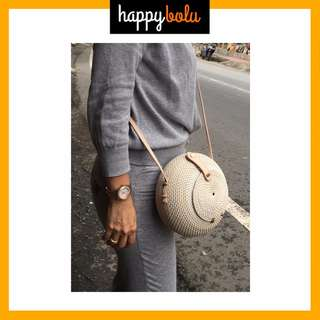 Round / Circle Rattan Sling Bag (SPECIAL WHITE DOMED) with Leather Lock