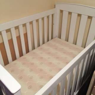 WHITE COT USED ONCE MATTRESS AND MATCHING CHANGE TABLE