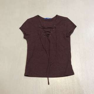 maroon lace up top