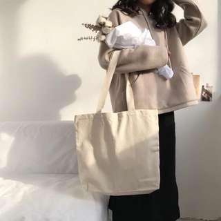 極簡。天然純棉帆布 環保袋側背包 素雅文青風 手提/側背包 購物袋