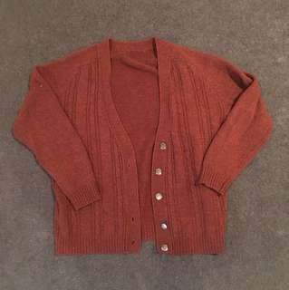 Thrifted Burnt Red Cardigan