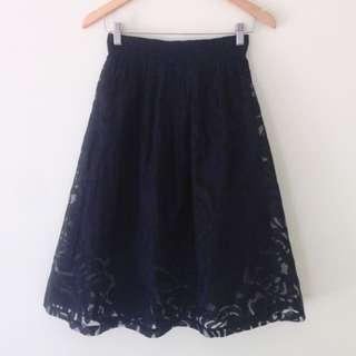Gorman Navy Lace Satellite Skirt