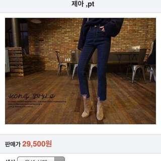 🚚 轉賣正韓kongstyle藍色刷破牛仔長褲stylenanda dahong