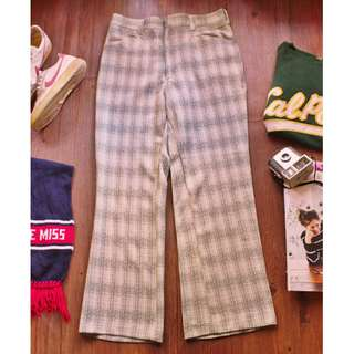 Vintage 70'S Check Lounge Pants 美式復古格紋褲 寬褲