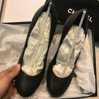 Chanel 深綠色 珍珠鞋跟 高跟鞋 heel