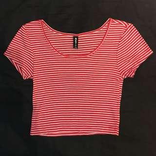 短版紅白細條紋T