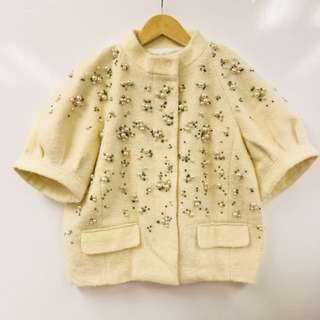 Red Valentino beige with pearls jacket size US 4