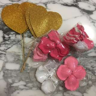 Assorted Rose Petals and Heart Decor